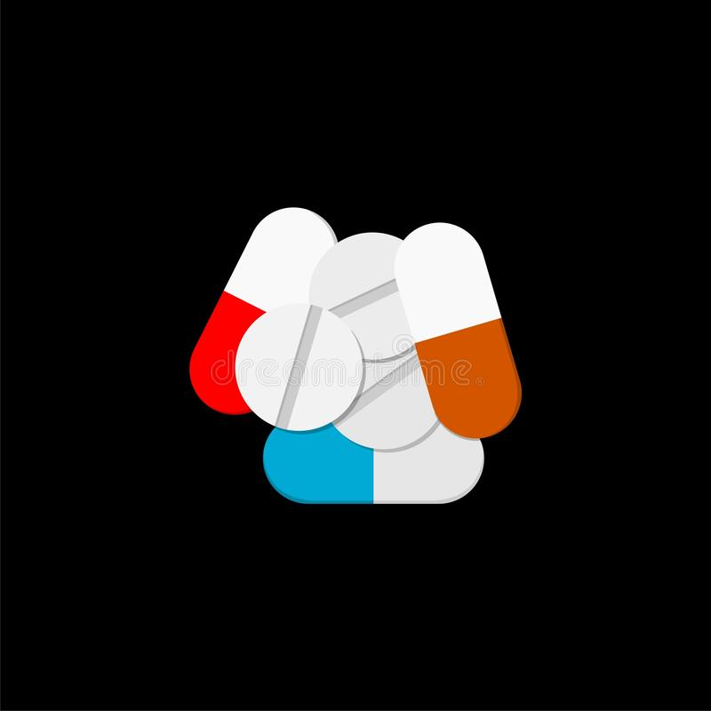 Pills icon flat illustration for graphic and web design isolated on black background stock illustration