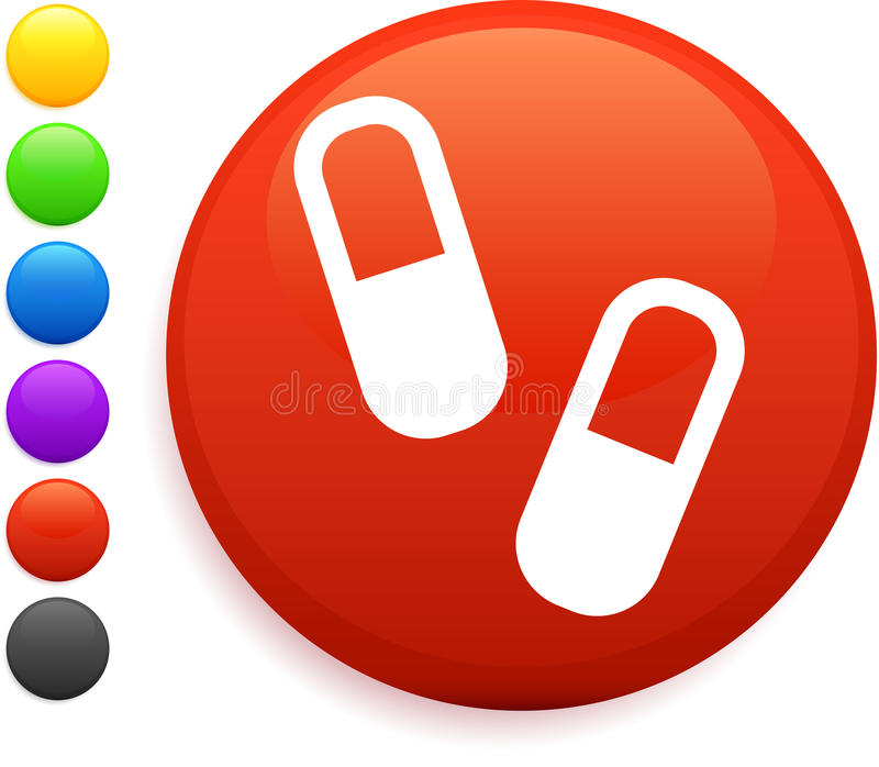 Download Pills Icon On Round Internet Button Stock Illustration - Image: 12583337