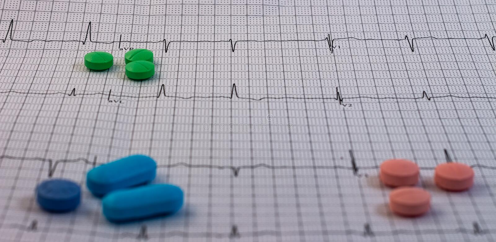 Pills and medicines of green color on an electrocardiogram royalty free stock images