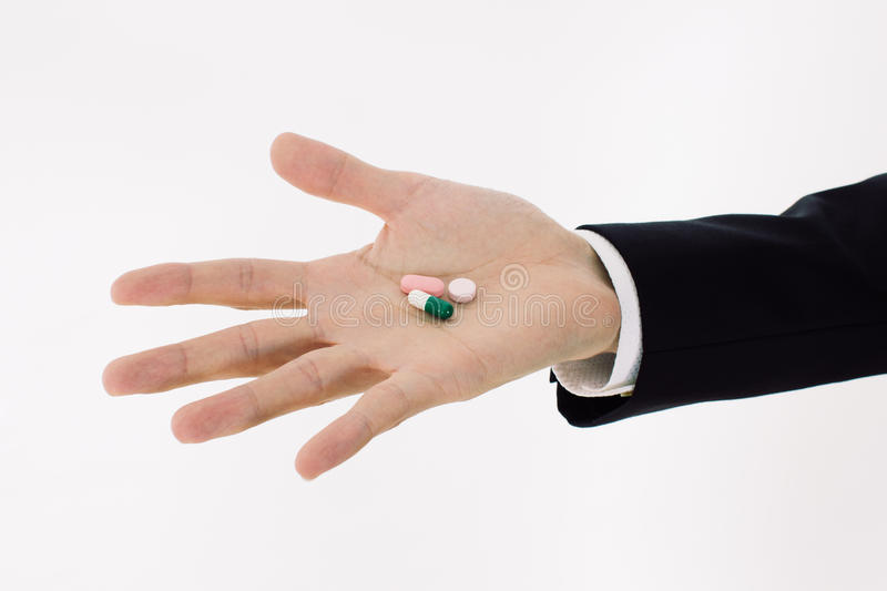 Download Pills on men hand stock photo. Image of proximity, attention - 26695710