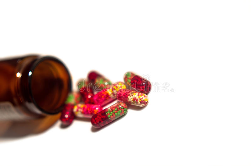 Pills And Opened Bottle Stock Photo