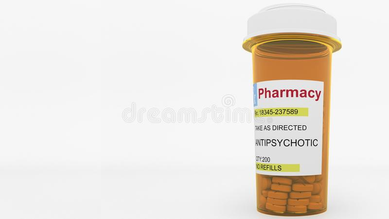 Antipsychotic pills in a prescription bottle. Conceptual 3D rendering. Pills in a prescription bottle. Conceptual 3DPills in a prescription bottle. Conceptual 3D royalty free illustration