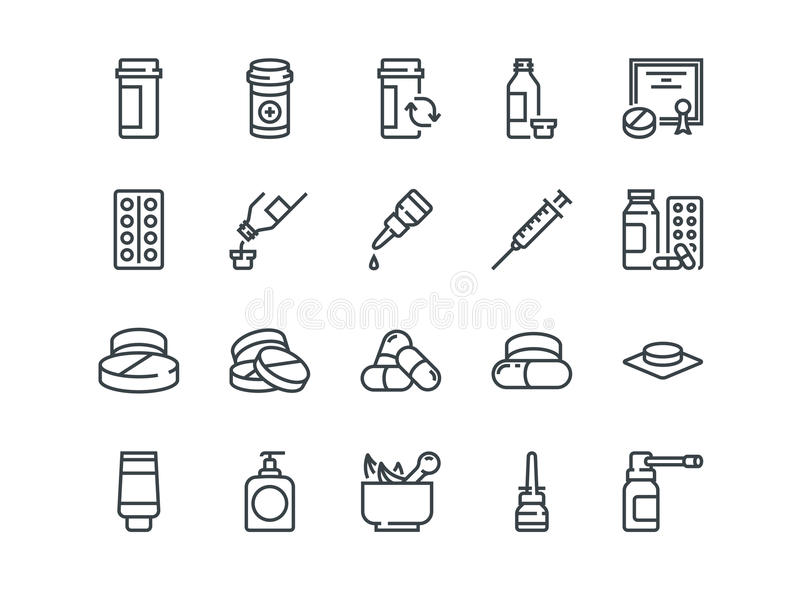 Pills. Set of outline vector icons. Includes such as Gel, Inhaler, Prescription. Syrup and other vector illustration