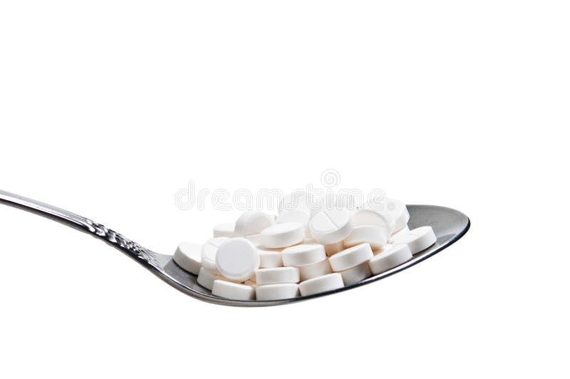 Download Pills in a spoon stock photo. Image of multi, pain, addictions - 12373586