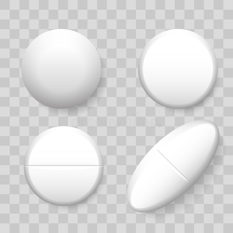 Pills vector 3D realistic isolated icons on transparent background. Set of drug pill in round oblong for pharmaceutical medicine vector illustration
