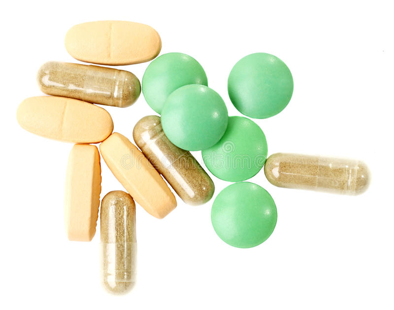 Pills, vitamines. On a white background stock photo