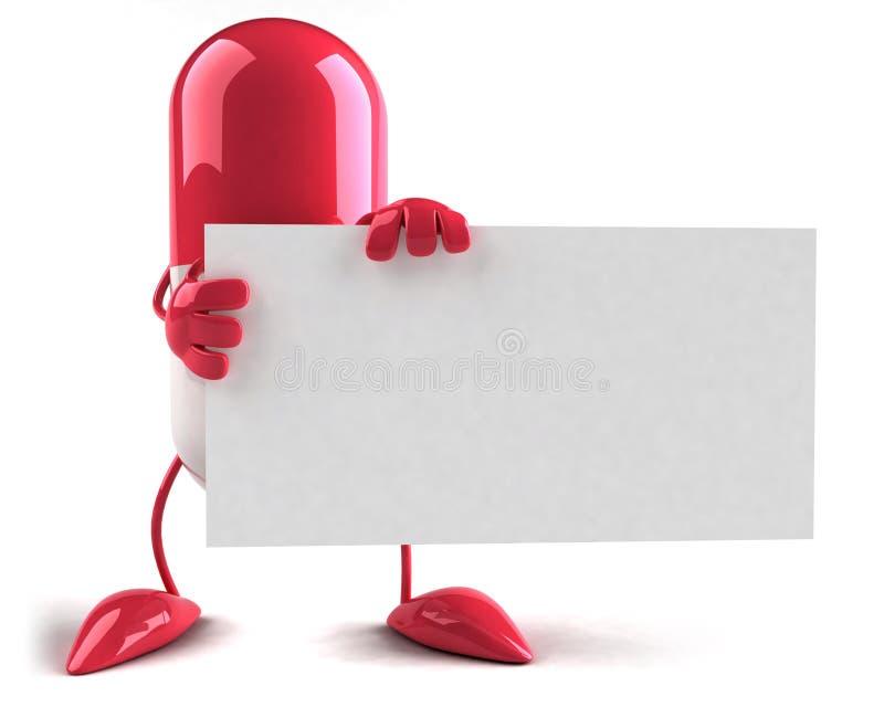 Pillule avec un signe blanc illustration stock