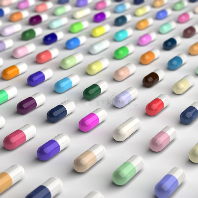 Pillules colorées illustration libre de droits