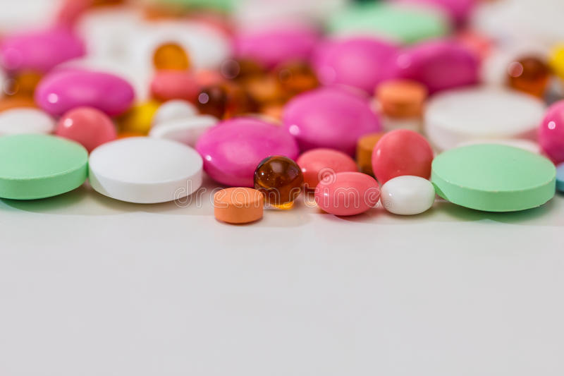 Pillules de prescription et médicament pharmaceutique images libres de droits