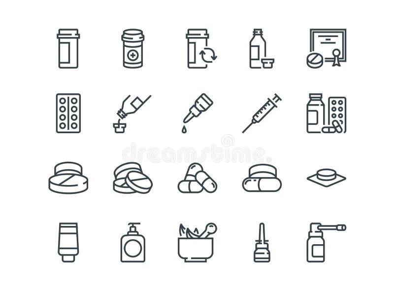 Pillules Ensemble d'icônes de vecteur d'ensemble Inclut comme le gel, inhalateur, prescription illustration de vecteur