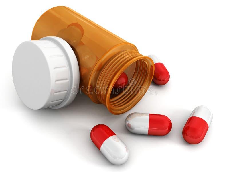 Pillules médicales rouges une bouteille orange sur le blanc photos stock
