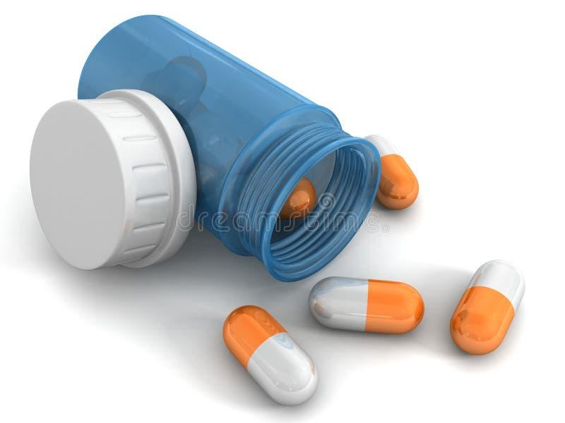 Pillules oranges une bouteille bleue sur le fond blanc illustration de vecteur