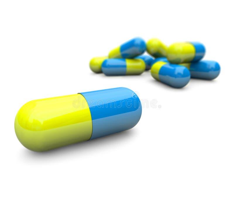Pillules - plan rapproché de capsules illustration libre de droits