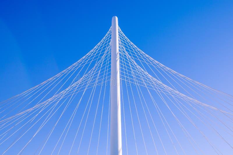 Pilone del ponte strallato con i cavi che formano un modello del tipo di fan fotografie stock libere da diritti