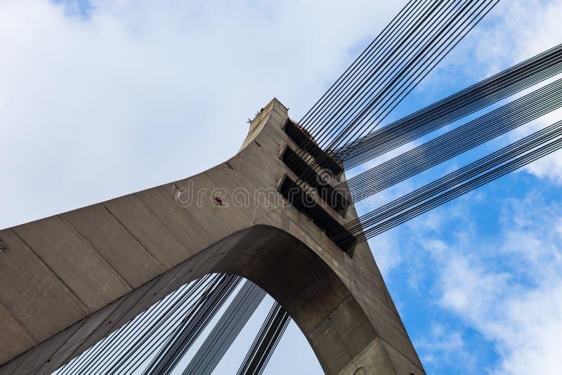 Pilone e cavi del ponte strallato in Kyiv immagine stock libera da diritti