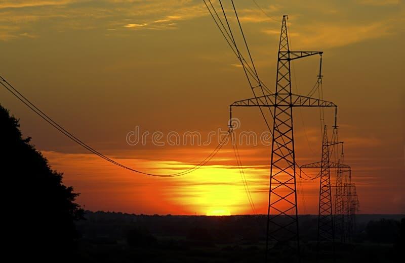 Pilones de la electricidad foto de archivo libre de regalías