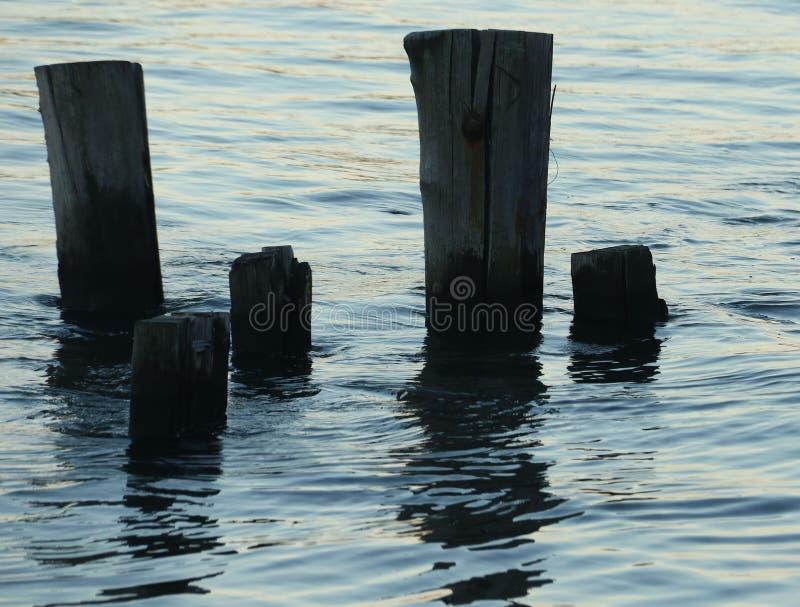 Pilones en agua en la puesta del sol imagen de archivo
