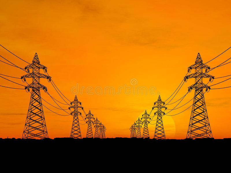 Download Pilony Energii Elektrycznej Obraz Stock - Obraz: 2293093
