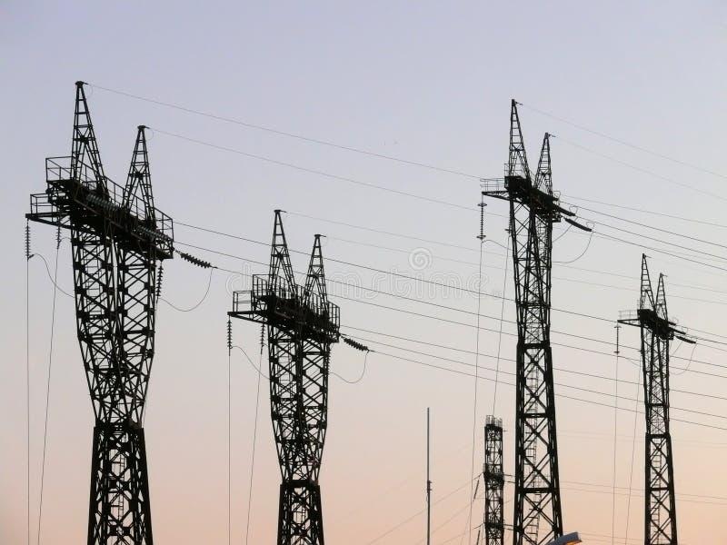 pilony energii elektrycznej fotografia royalty free