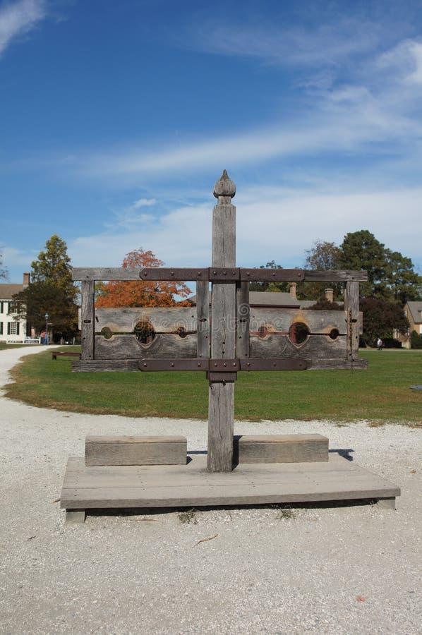 Pilory in Koloniale Williamsburg Virginia stock afbeeldingen