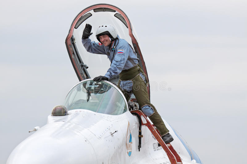 Pilot. MOSCOW - MAY 06: Celebrations of the 20th anniversary of the flight groups Strizhi and Russian Knights (Russkie Vityazi) on aerodrome Kubinka on May 6 royalty free stock photography