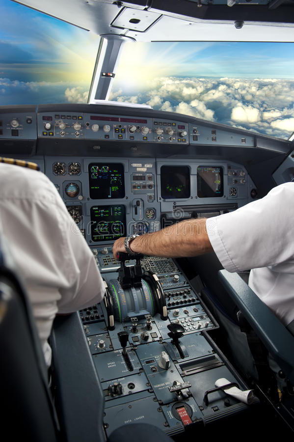 Pilot on airplane royalty free stock image