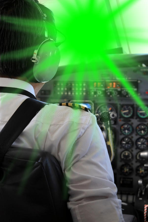 Pilot blinded from a Laserpointer. A Pilot blinded from a Laserpointer royalty free stock image