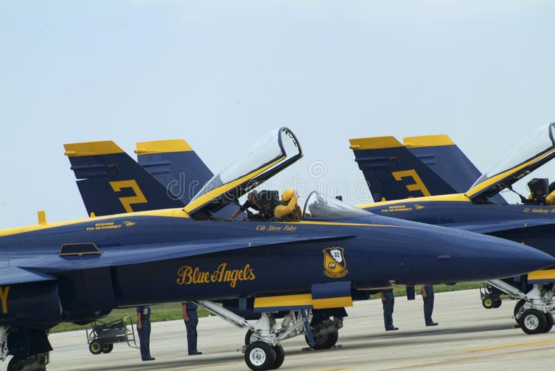 A pilot in the Blue Angel jet prepares to start its engine royalty free stock photography