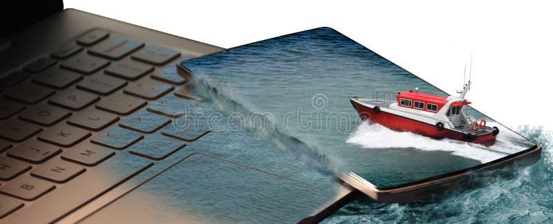 Pilot Boat, das aus Handy herauskommt lizenzfreie stockbilder