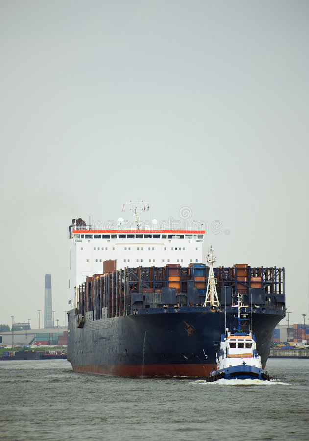 Free Pilot Boat In Front Of Carrier At Hamburg Harbor Royalty Free Stock Photos - 5290878