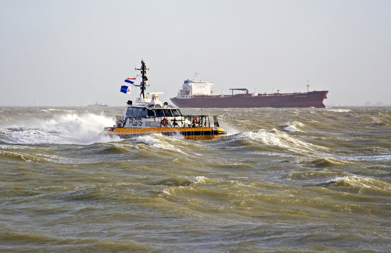 Download A pilot boat in the storm stock image. Image of pier, coast - 3987931
