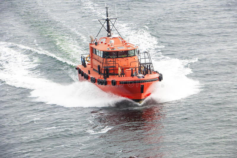 Pilot boat. On the way to operation stock photography