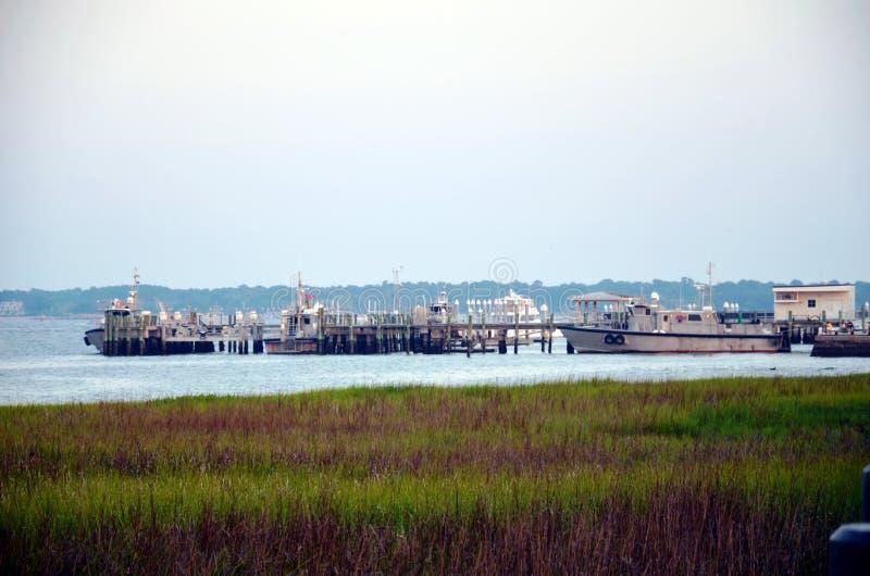 Pilot boats in the port of Charleston, South Carolina. stock photos