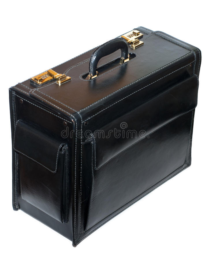 Pilot case. Leather pilot case isolated on white stock images