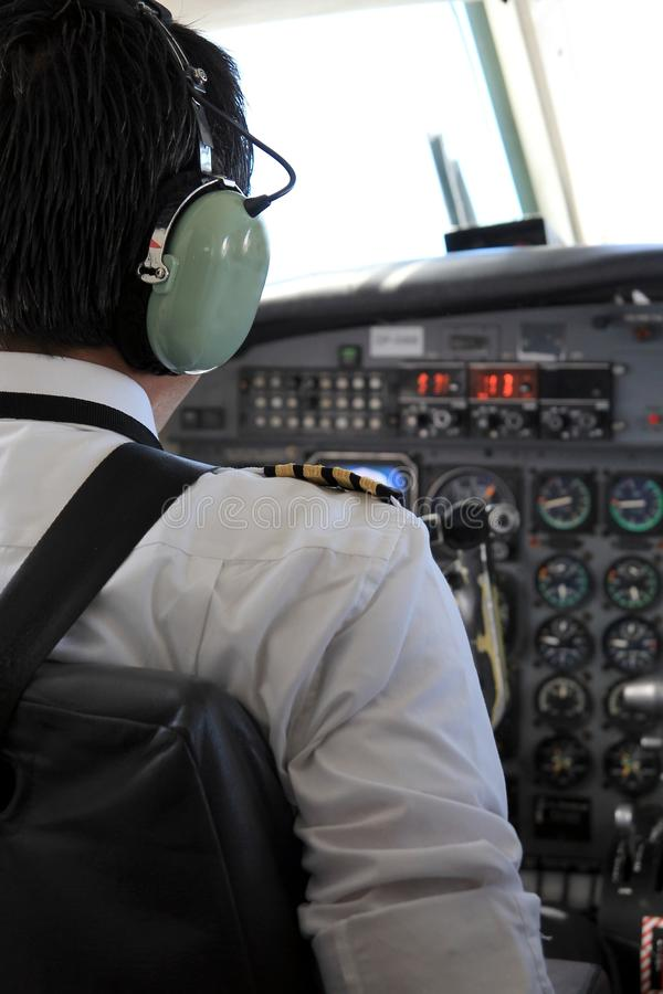 Pilot In A Cockpit Stock Photography