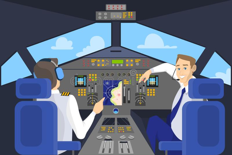 Pilot in cockpit smiling. Control panel in airplane. Captain on the board. Idea of flying and aviation. Flat vector illustration stock illustration
