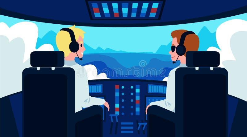 Pilot and copilot inside airplane cockpit flat cartoon vector illustration. Pilot and copilot cartoon characters inside airplane cockpit flat vector vector illustration