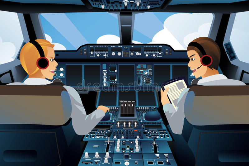 Pilot and copilot inside the cockpit stock illustration