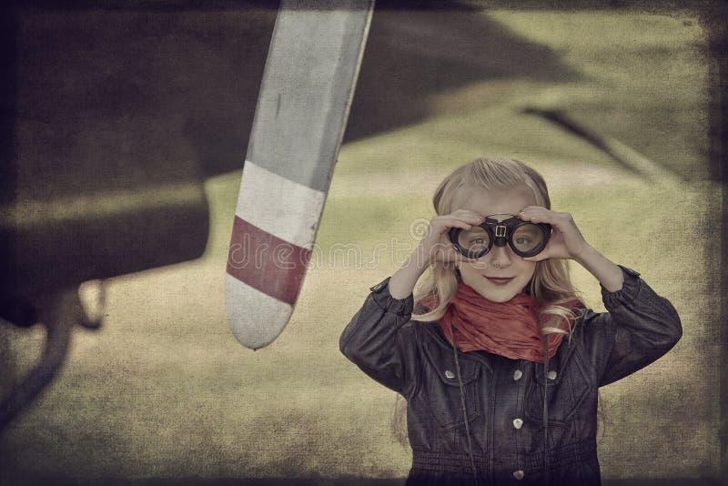 Pilot des jungen Mädchens stockbild