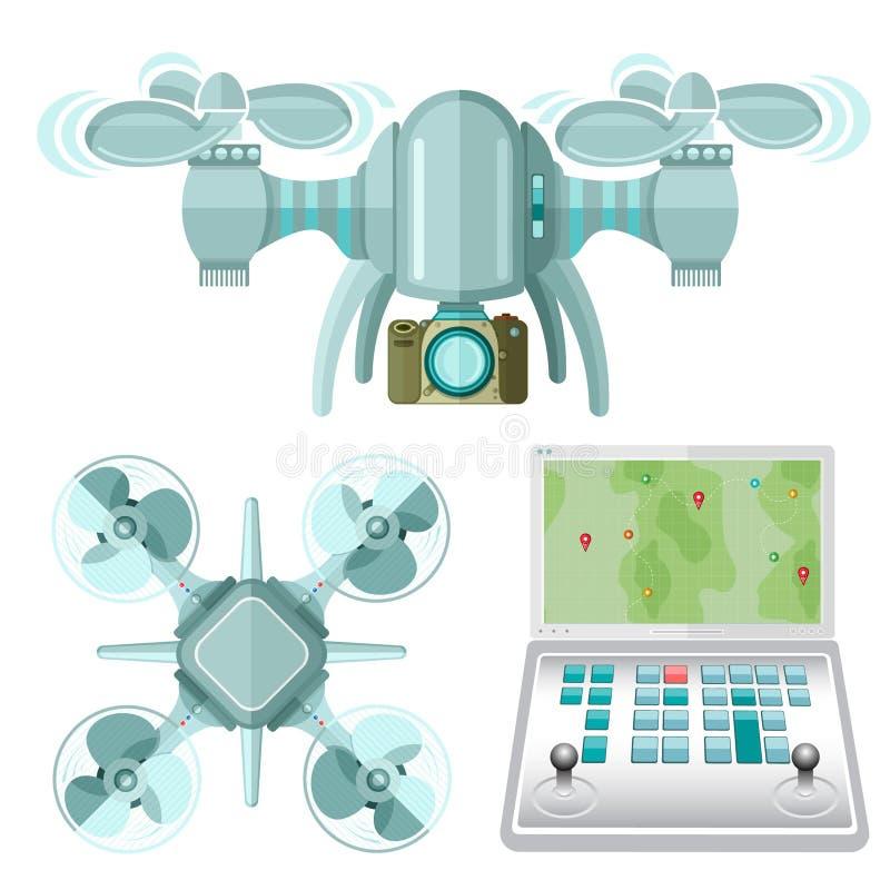 Pilot do TV, dwa multicopter i quadcopter z kamera wierzchołkiem, boczny widok w mieszkanie stylu odizolowywającym ilustracji
