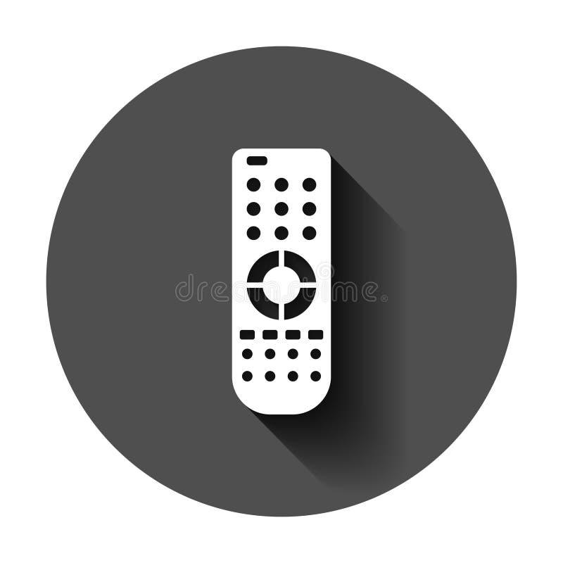 Pilot do TV ikona w mieszkanie stylu Infrared kontrolera wektorowa ilustracja na czarnym round tle z d?ugim cieniem Tv klawiatura ilustracja wektor