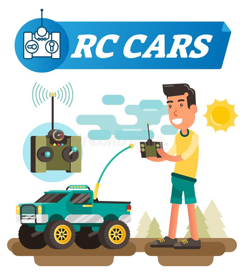 Pilot do TV samochodów wektoru ilustracja Chłopiec z joysticków guzikami jedzie bezprzewodowego samochód z anteną Elektroniczny z ilustracji