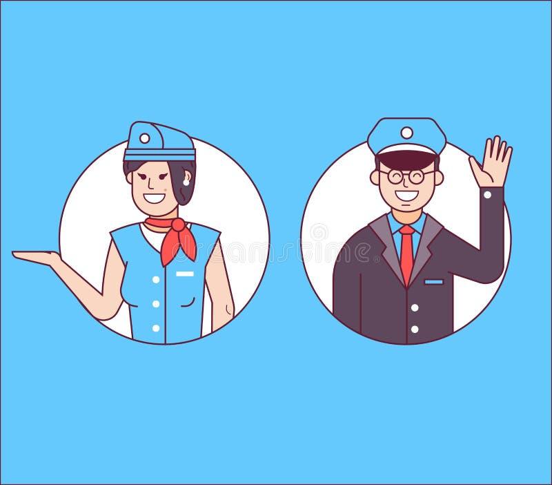 Pilot eller marskalk och stewardess Icons royaltyfri illustrationer