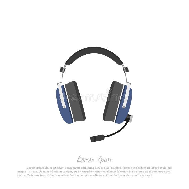 Pilot för borgerligt flygplan för hörlurar Dra i en plan stil vektor illustrationer