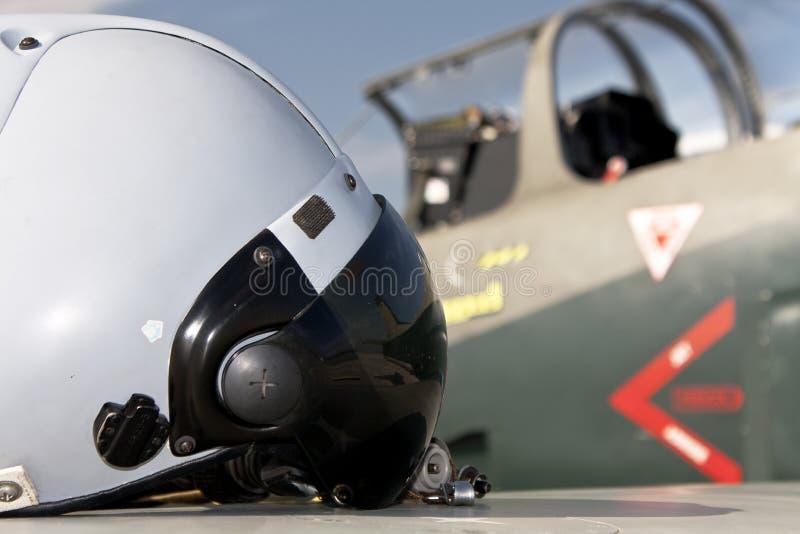 pilot för flygplanhjälmstråle s royaltyfri foto