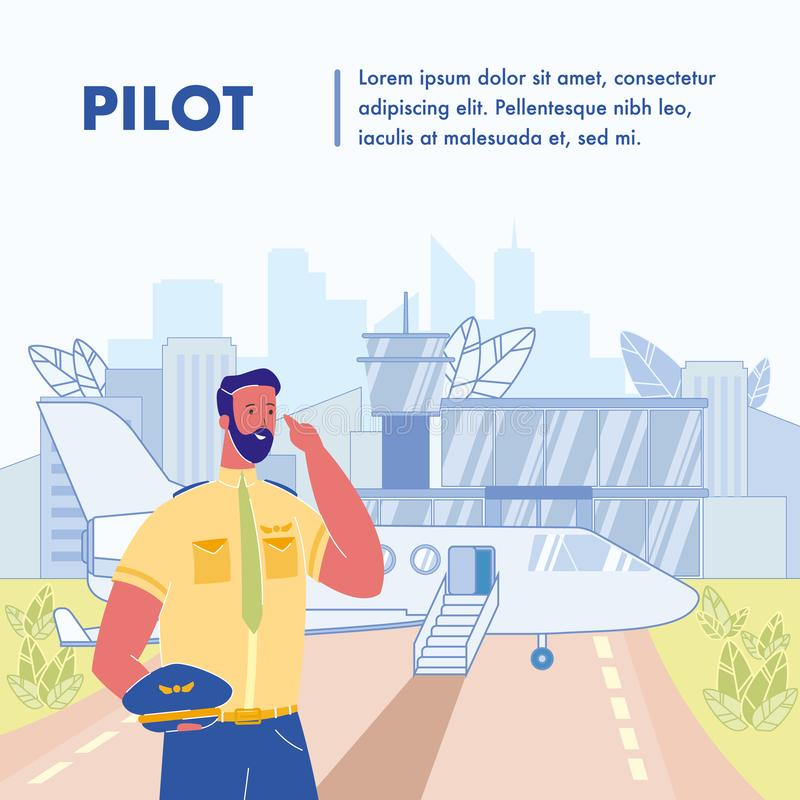 Pilot Flat Vector Poster Template with Text Space vector illustration