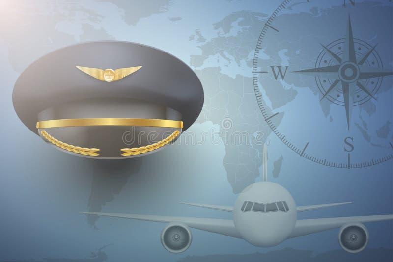 Pilot- flygplancivilflygbakgrund vektor illustrationer