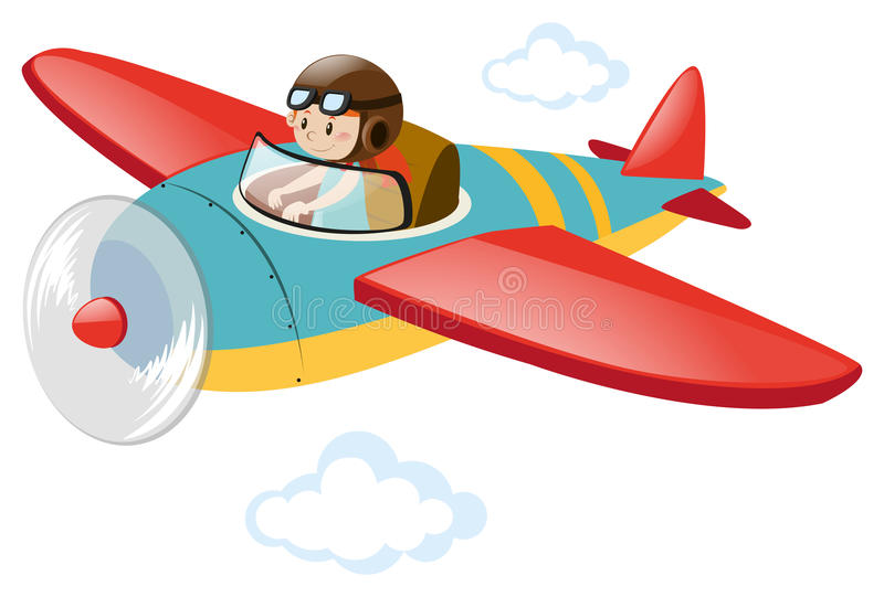 Pilot flying airplane in the sky stock illustration