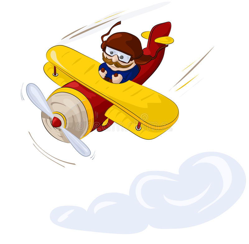 Pilot flying by plane in the sky royalty free stock photo