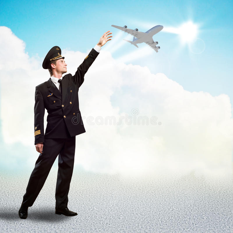 Download Pilot In The Form Of Extending A Hand To Airplane Stock Image - Image: 30180093